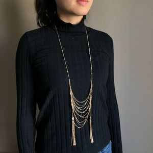 Statement long gold necklace